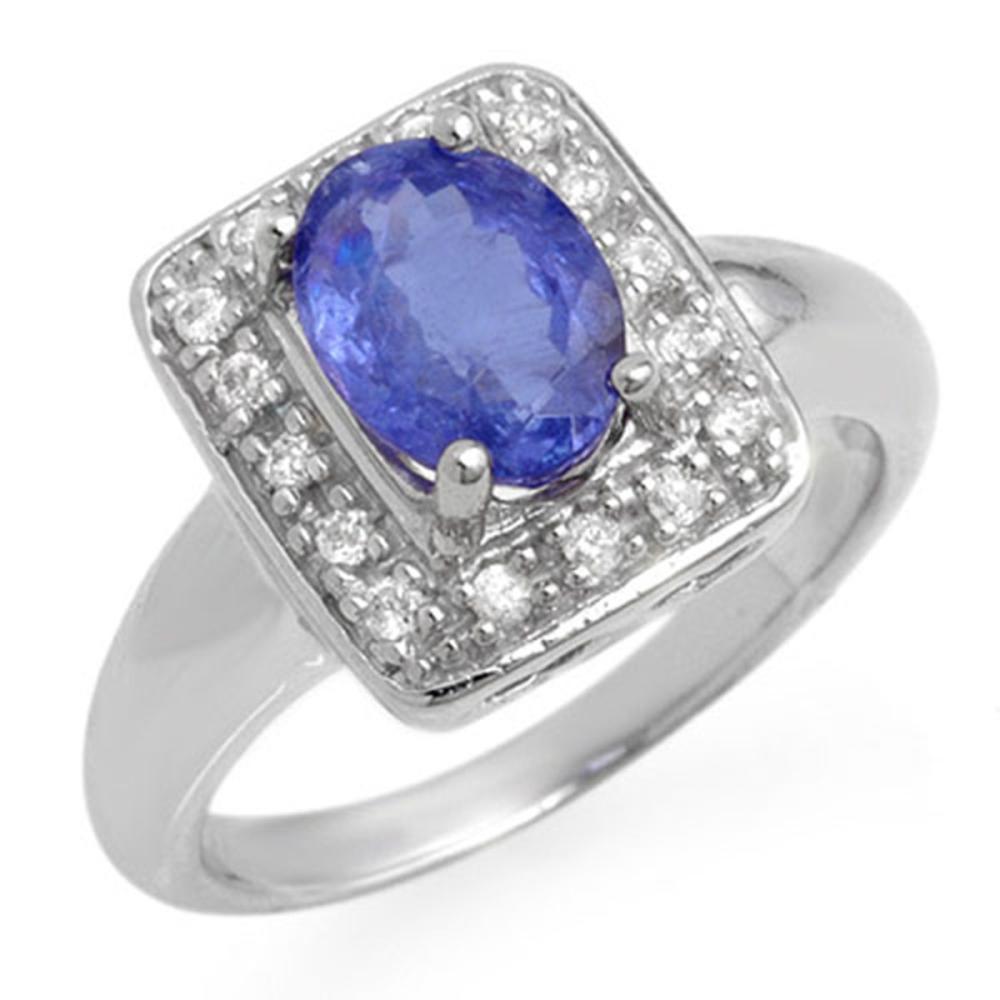 2.65 ctw Tanzanite & Diamond Ring 18K White Gold - REF-96V4Y - SKU:14100