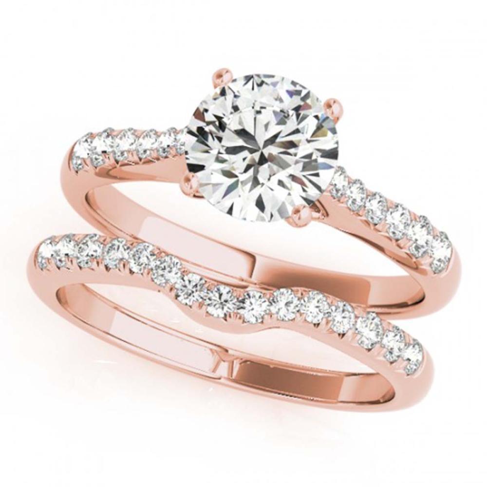 0.98 ctw VS/SI Diamond 2pc Wedding Set 14K Rose Gold - REF-97V3Y - SKU:31575