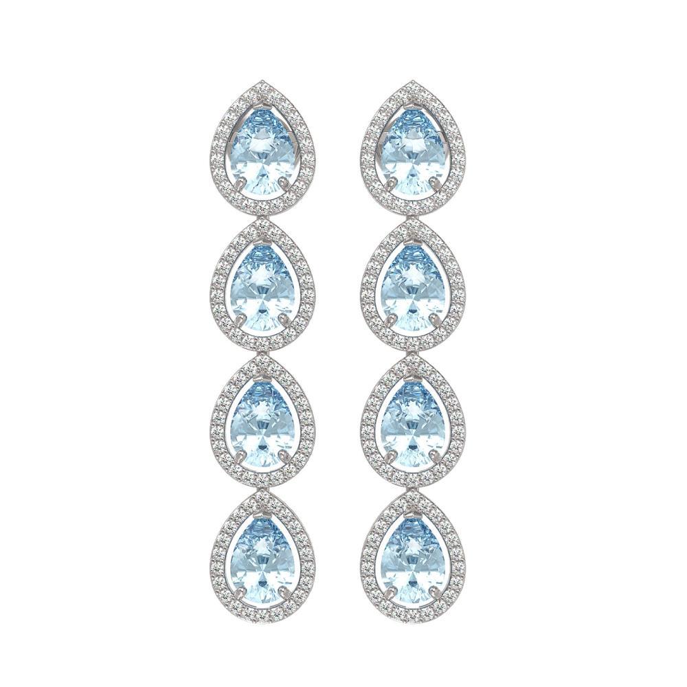 7.81 ctw Sky Topaz & Diamond Halo Earrings 10K White Gold - REF-134X9R - SKU:41168
