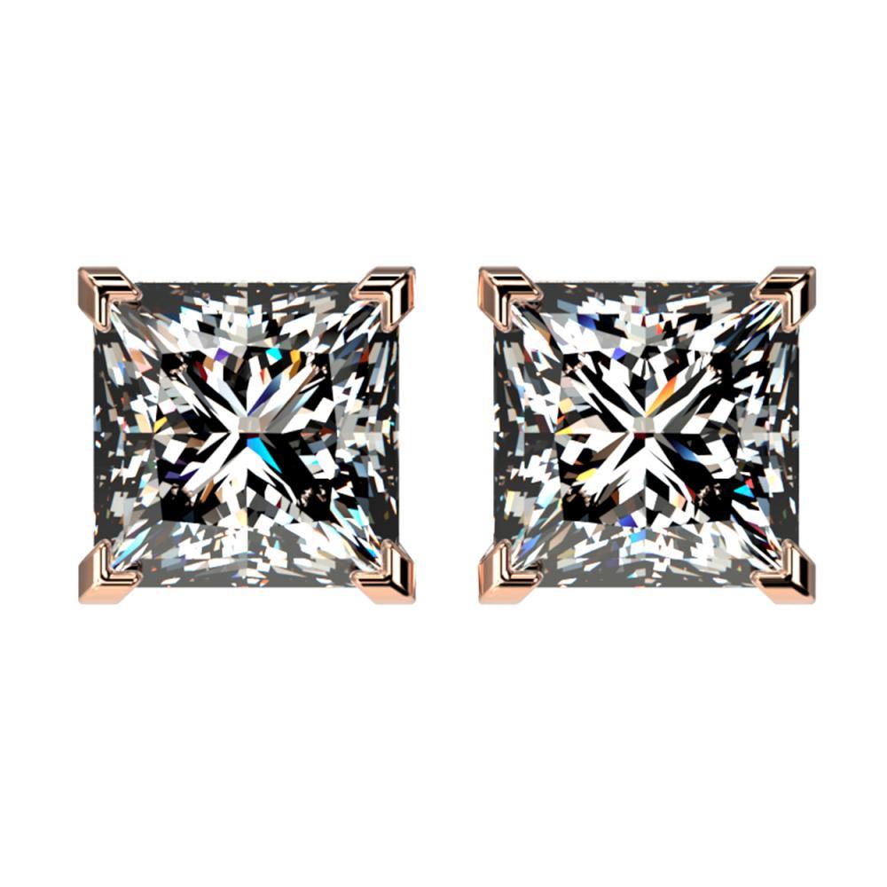 2.50 ctw VS/SI Princess Diamond Stud Earrings 10K Rose Gold - REF-735Y2X - SKU:33115