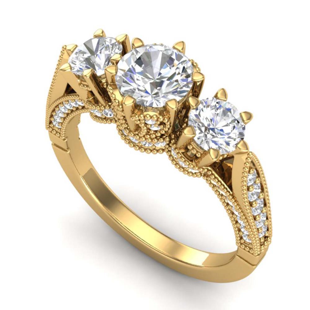 2.18 ctw VS/SI Diamond Art Deco 3 Stone Ring 18K Yellow Gold - REF-296M4F - SKU:37249
