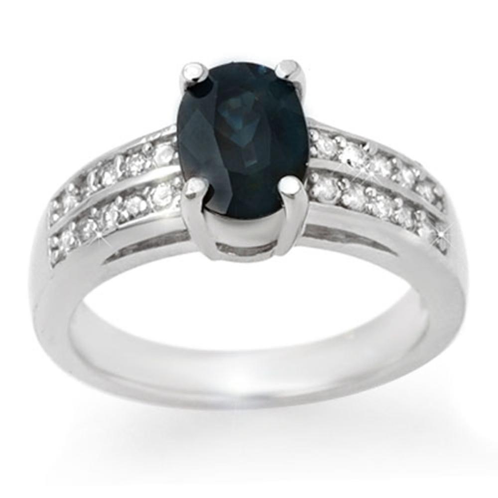 3.19 ctw Blue Sapphire & Diamond Ring 14K White Gold - REF-59R6K - SKU:13683