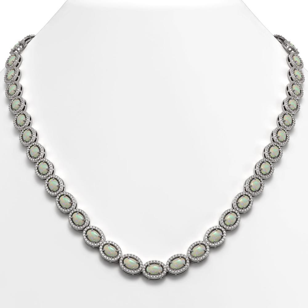 21.21 ctw Opal & Diamond Halo Necklace 10K White Gold - REF-581M8F - SKU:40415
