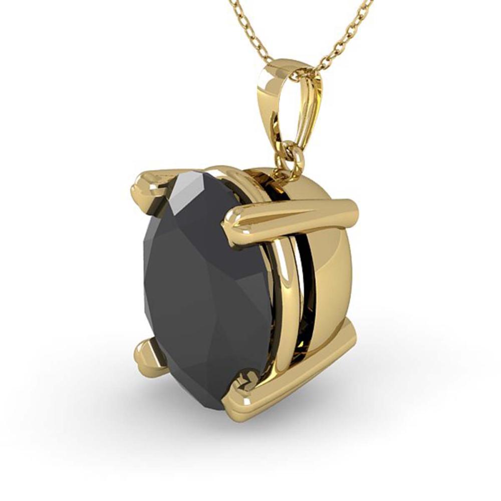 5.0 ctw Oval Black Diamond Necklace 14K Yellow Gold - REF-94A8V - SKU:38435