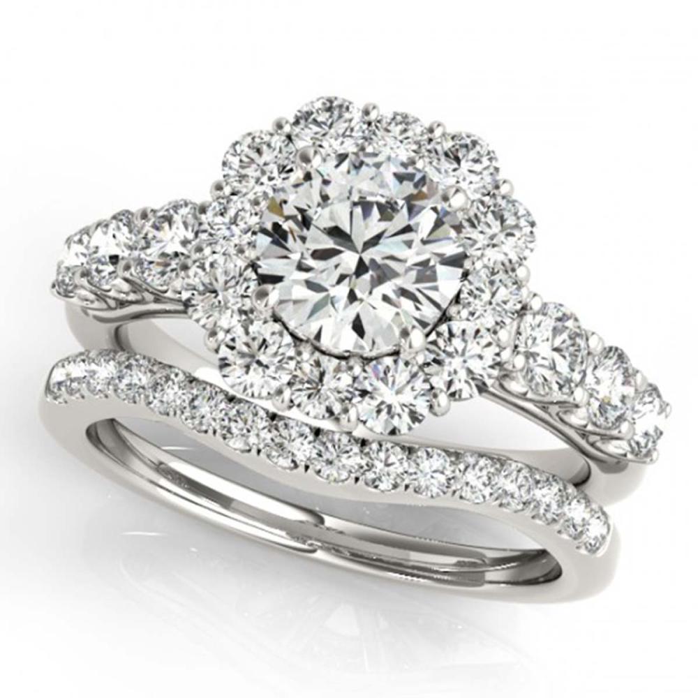 3.16 ctw VS/SI Diamond 2pc Wedding Set Halo 14K White Gold - REF-538M6F - SKU:30726