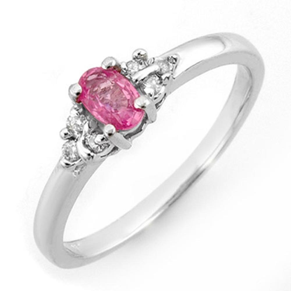 0.44 ctw Pink Sapphire & Diamond Ring 18K White Gold - REF-38R2K - SKU:10799