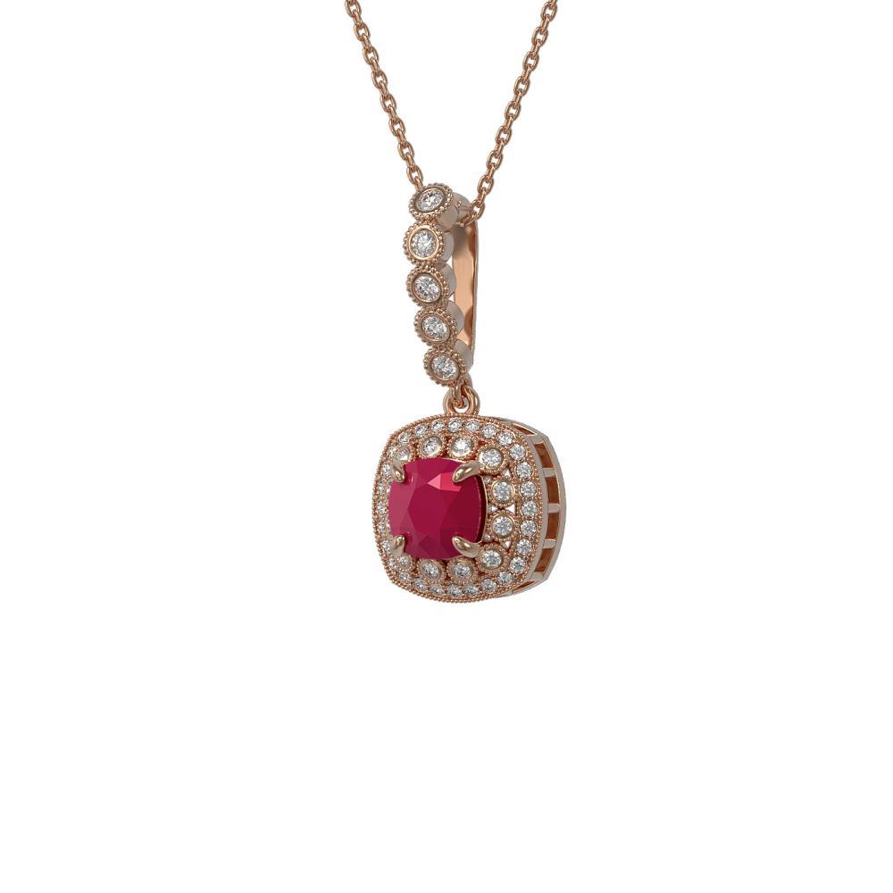 2.55 ctw Ruby & Diamond Necklace 14K Rose Gold - REF-77Y8X - SKU:44076