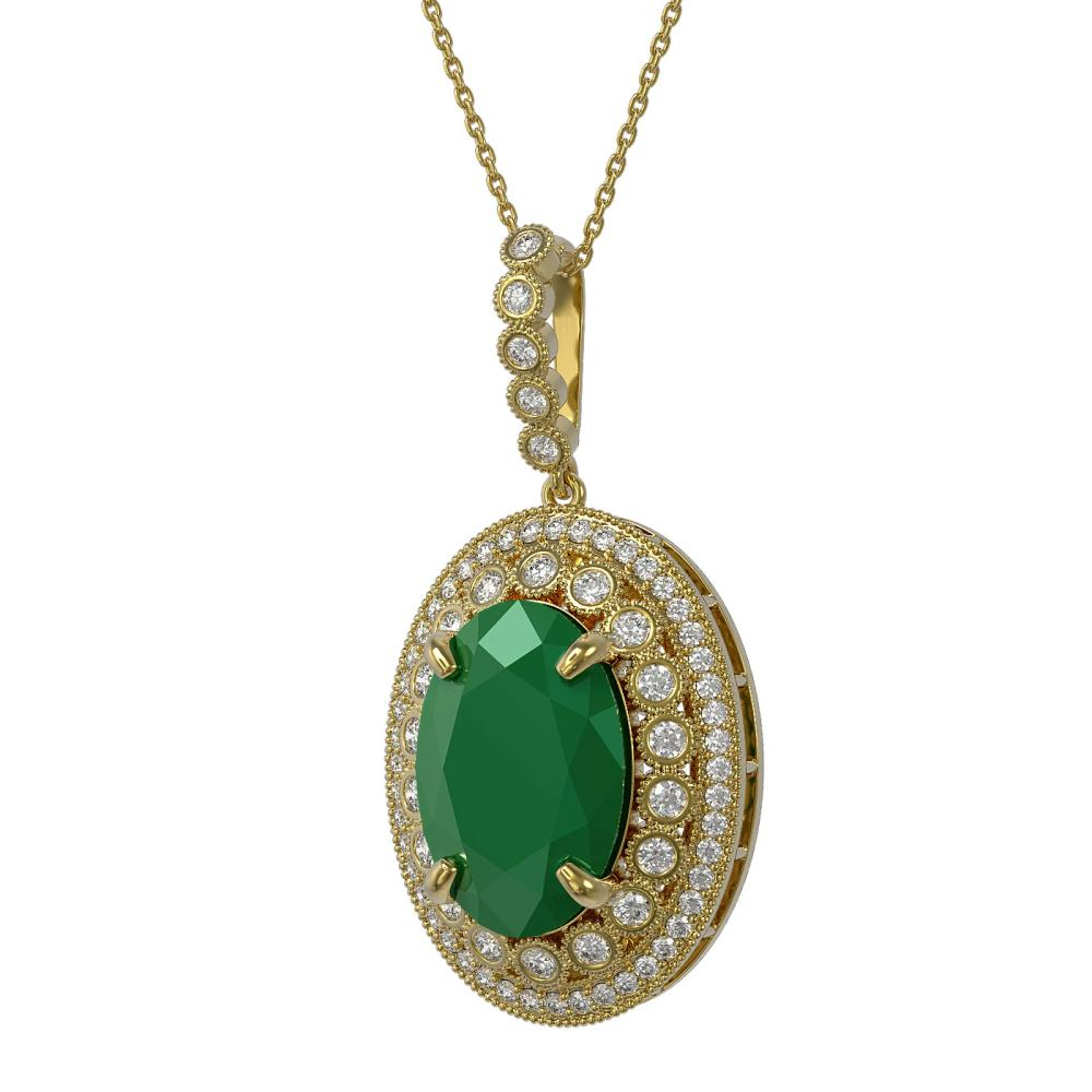 18.25 ctw Emerald & Diamond Necklace 14K Yellow Gold - REF-343H5M - SKU:43894