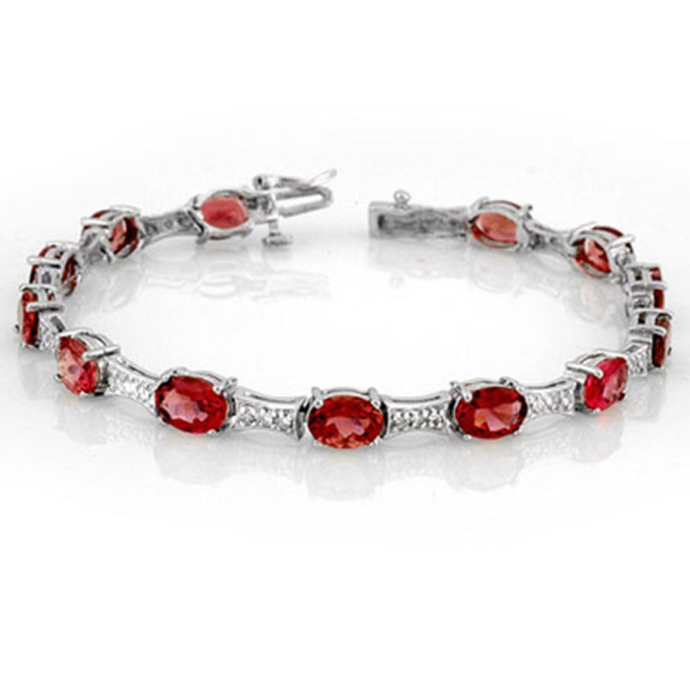 10.04 ctw Pink Tourmaline & Diamond Bracelet 14K White Gold - REF-150K2W - SKU:10755