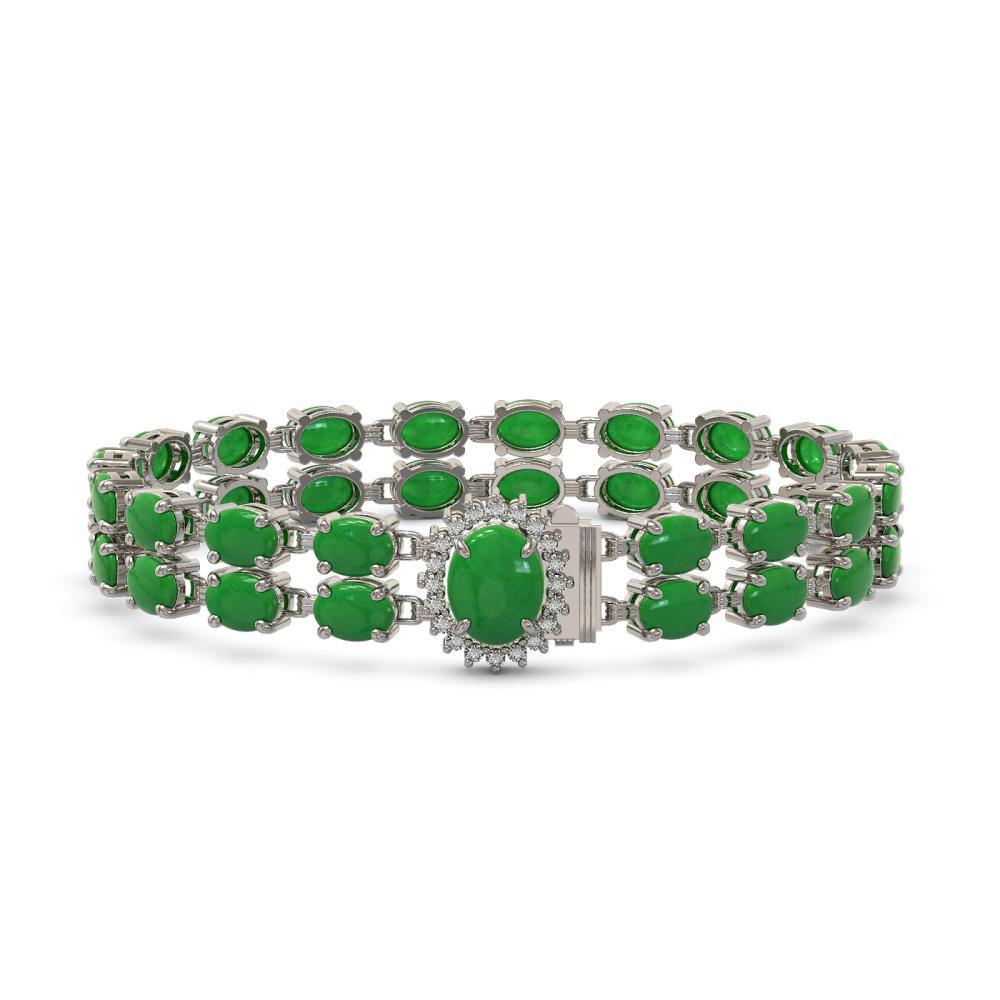 29.82 ctw Jade & Diamond Bracelet 14K White Gold - REF-212V9Y - SKU:45533