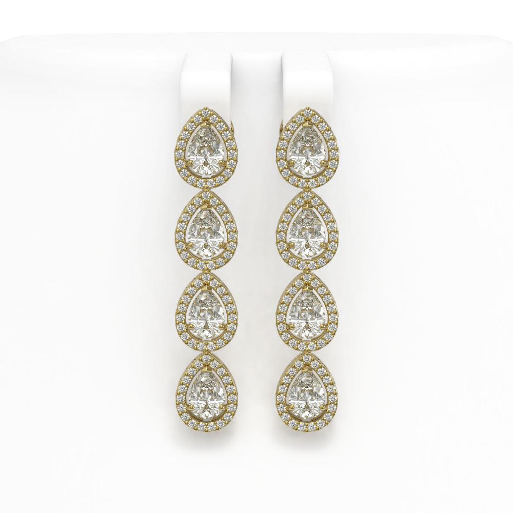6.01 ctw Pear Diamond Earrings 18K Yellow Gold - REF-845M7F - SKU:42739
