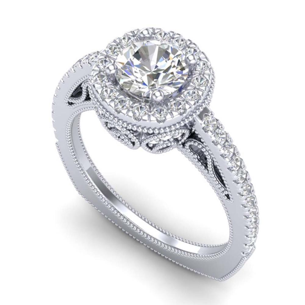 1.55 ctw VS/SI Diamond Solitaire Art Deco Ring 18K White Gold - REF-263F6N - SKU:37115