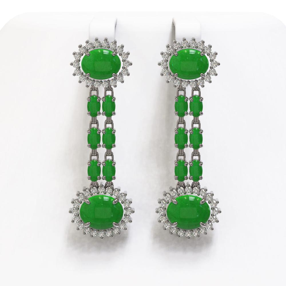 10.72 ctw Jade & Diamond Earrings 14K White Gold - REF-174R2K - SKU:44507