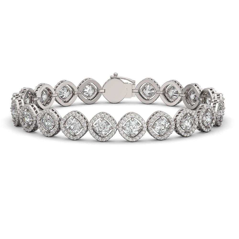 15.58 ctw Cushion Diamond Bracelet 18K White Gold - REF-2165W9H - SKU:42860
