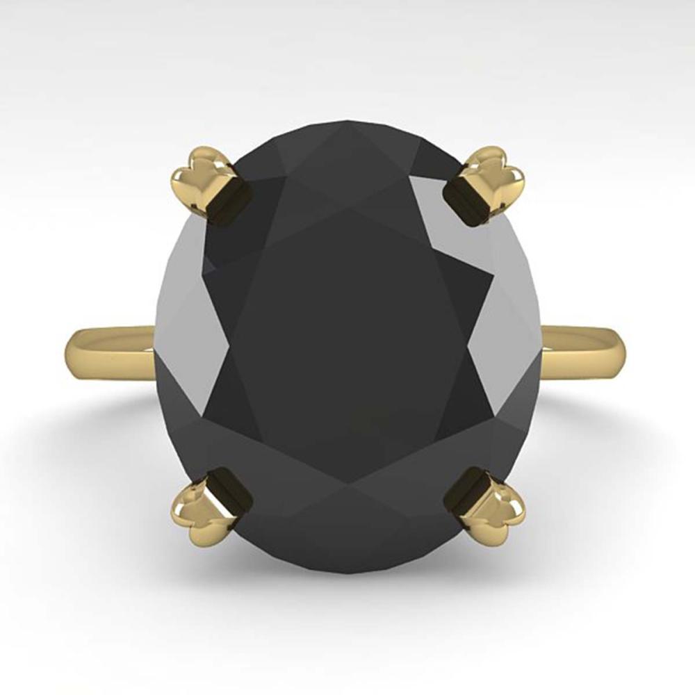 9.0 ctw Oval Black Diamond Ring 14K Yellow Gold - REF-240W2H - SKU:38483