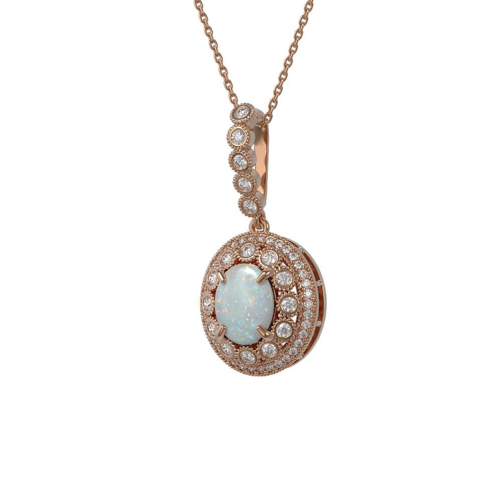 3.9 ctw Opal & Diamond Necklace 14K Rose Gold - REF-139A8V - SKU:43674