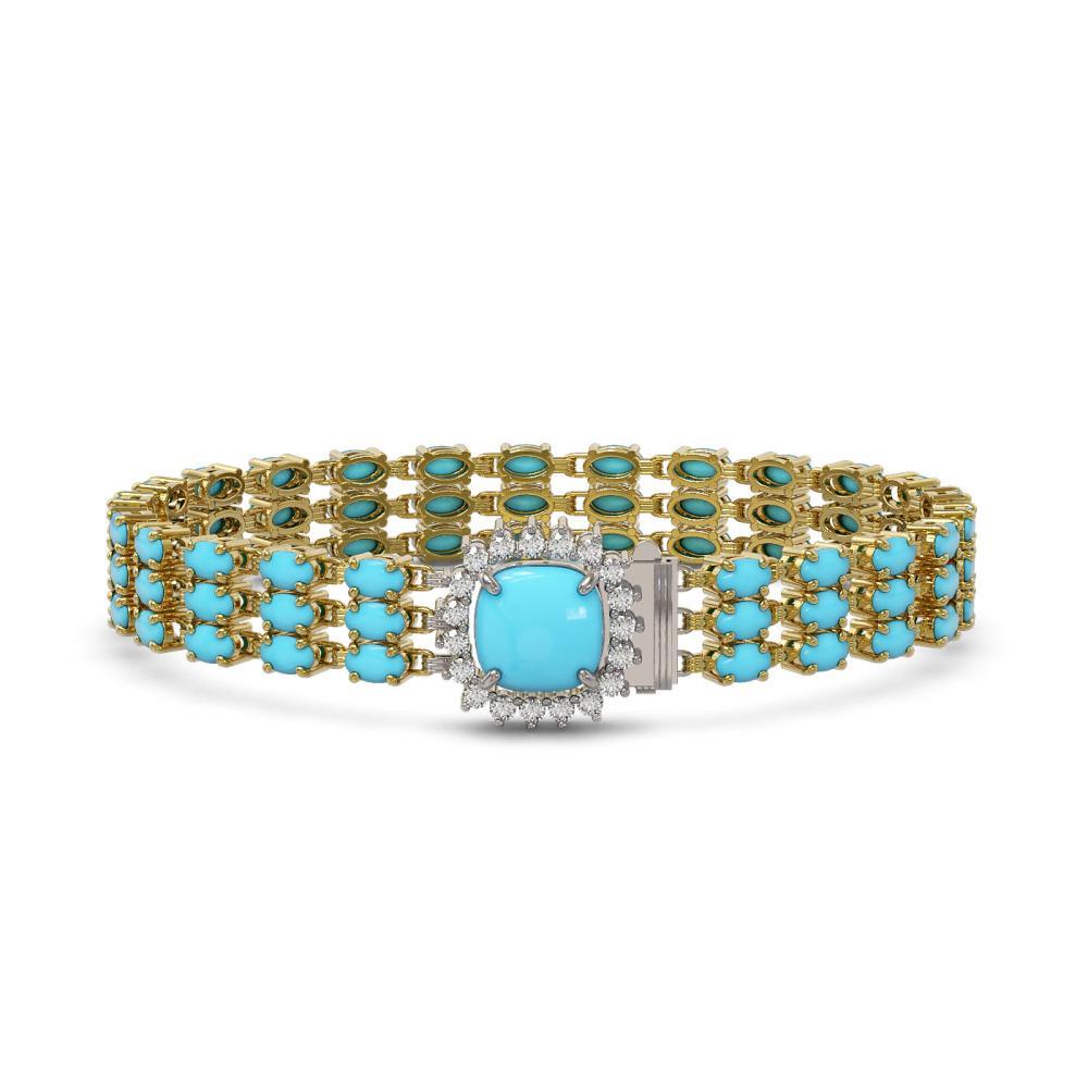 22.19 ctw Turquoise & Diamond Bracelet 14K Yellow Gold - REF-233F6N - SKU:45931