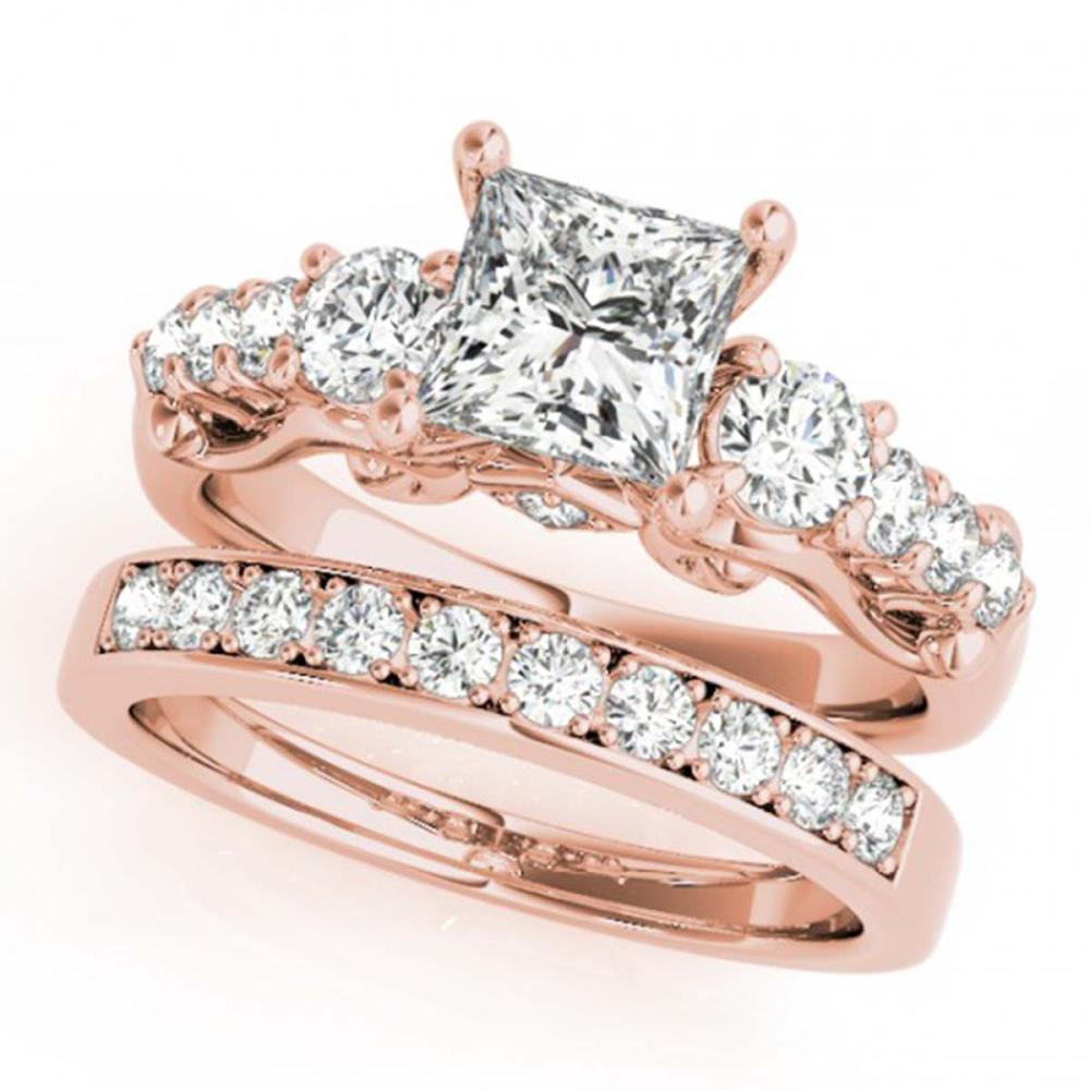 2.1 ctw VS/SI Diamond 3 Stone Princess Cut 2pc Set 14K Rose Gold - REF-380F5N - SKU:32028