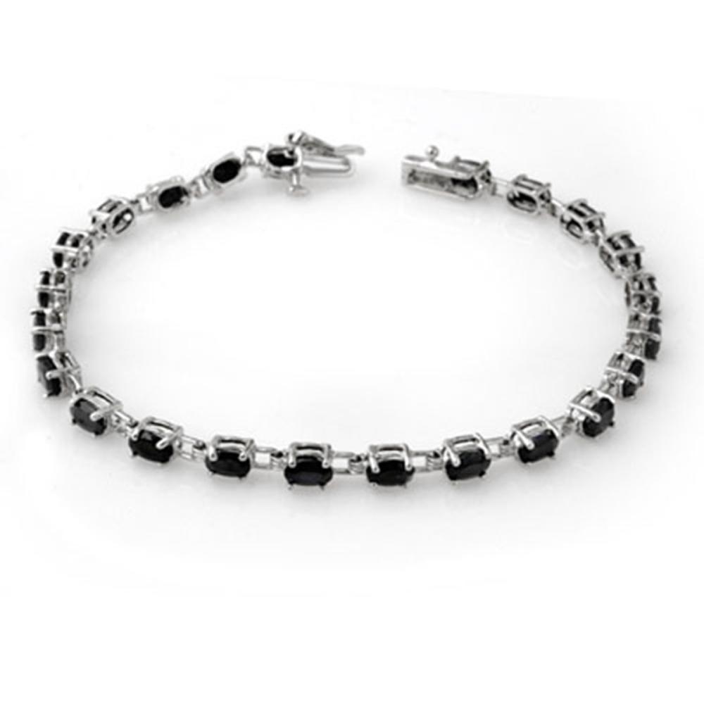9.10 ctw Blue Sapphire Bracelet 10K White Gold - REF-69R3K - SKU:13572