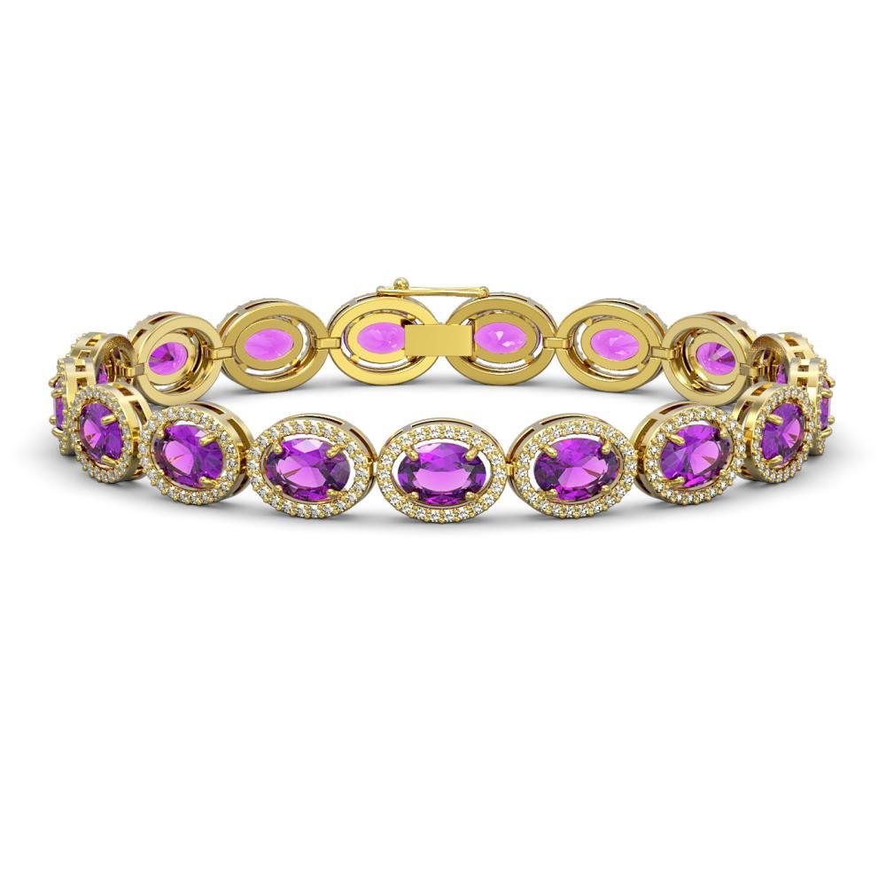 19.82 ctw Amethyst & Diamond Halo Bracelet 10K Yellow Gold - REF-270A9V - SKU:40642