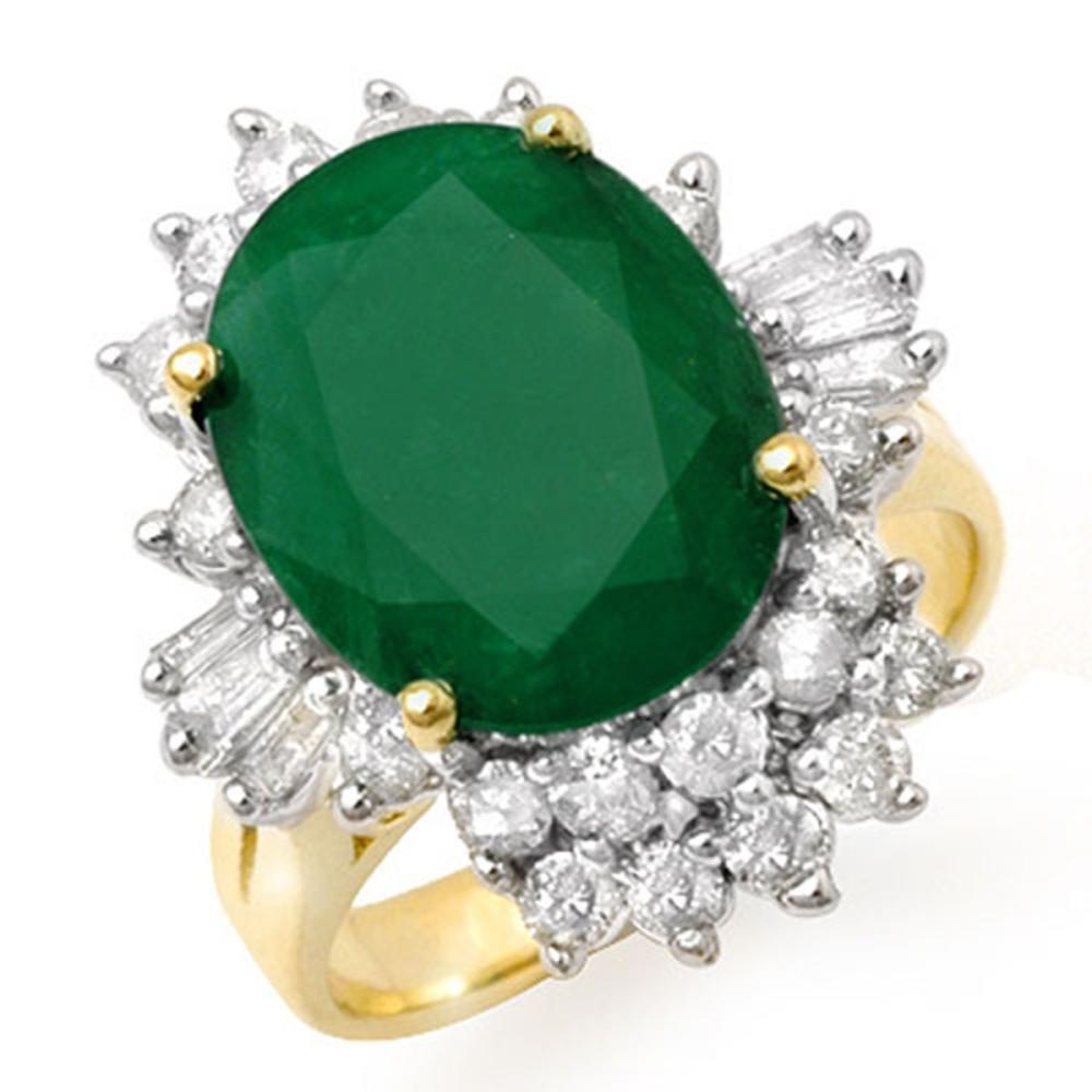5.41 ctw Emerald & Diamond Ring 14K Yellow Gold - REF-154K5W - SKU:13274