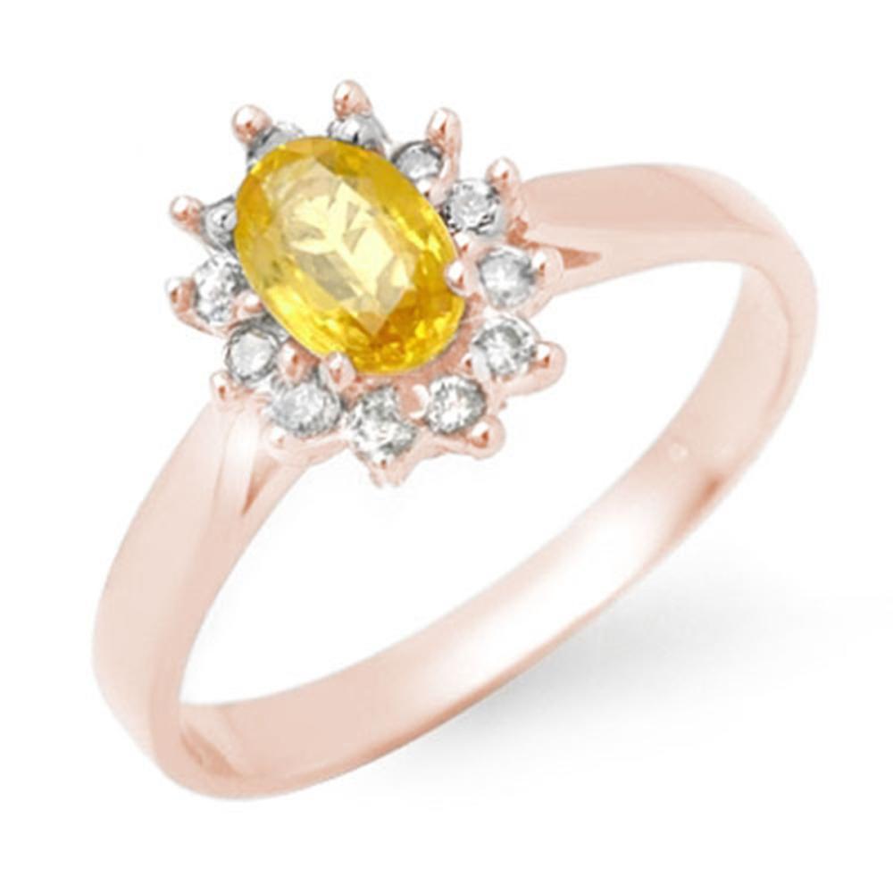 0.83 ctw Yellow Sapphire & Diamond Ring 18K Rose Gold - REF-39H6M - SKU:14385
