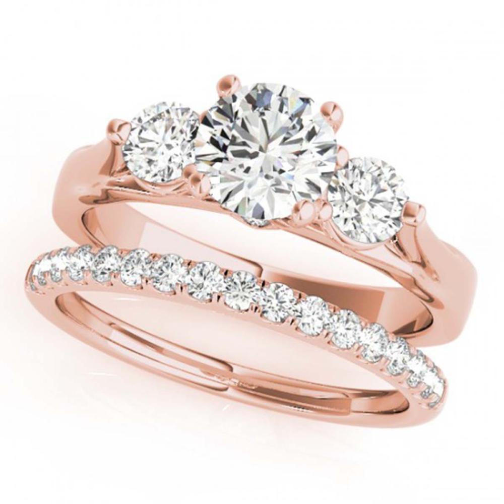 2.17 ctw VS/SI Diamond 3 Stone 2pc Wedding Set 14K Rose Gold - REF-414Y5X - SKU:32037