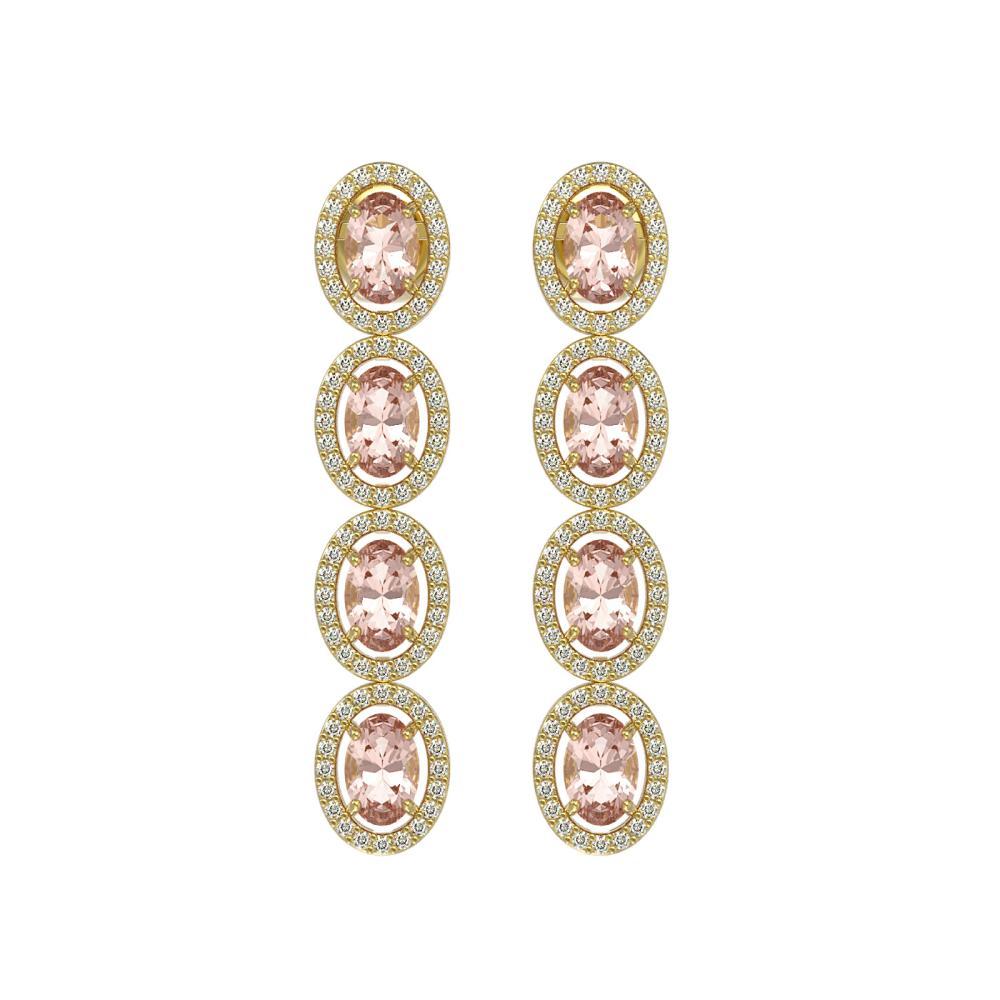6.09 ctw Morganite & Diamond Halo Earrings 10K Yellow Gold - REF-125Y5X - SKU:40516