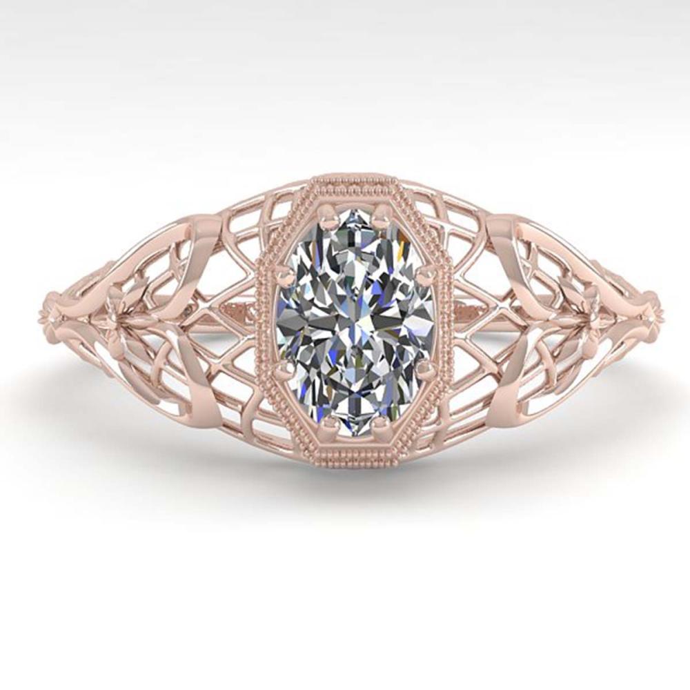 0.50 ctw VS/SI Oval Diamond Ring Deco 18K Rose Gold - REF-104R7K - SKU:36020