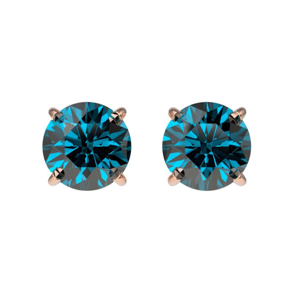 1.03 ctw Intense Blue Diamond Stud Earrings 10K Rose Gold - REF-87R2K - SKU:36591