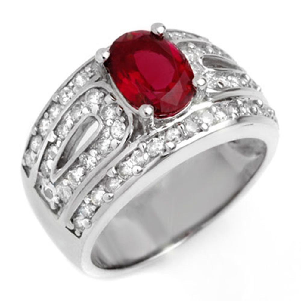 2.54 ctw Rubellite & Diamond Ring 18K White Gold - REF-152A7V - SKU:10622