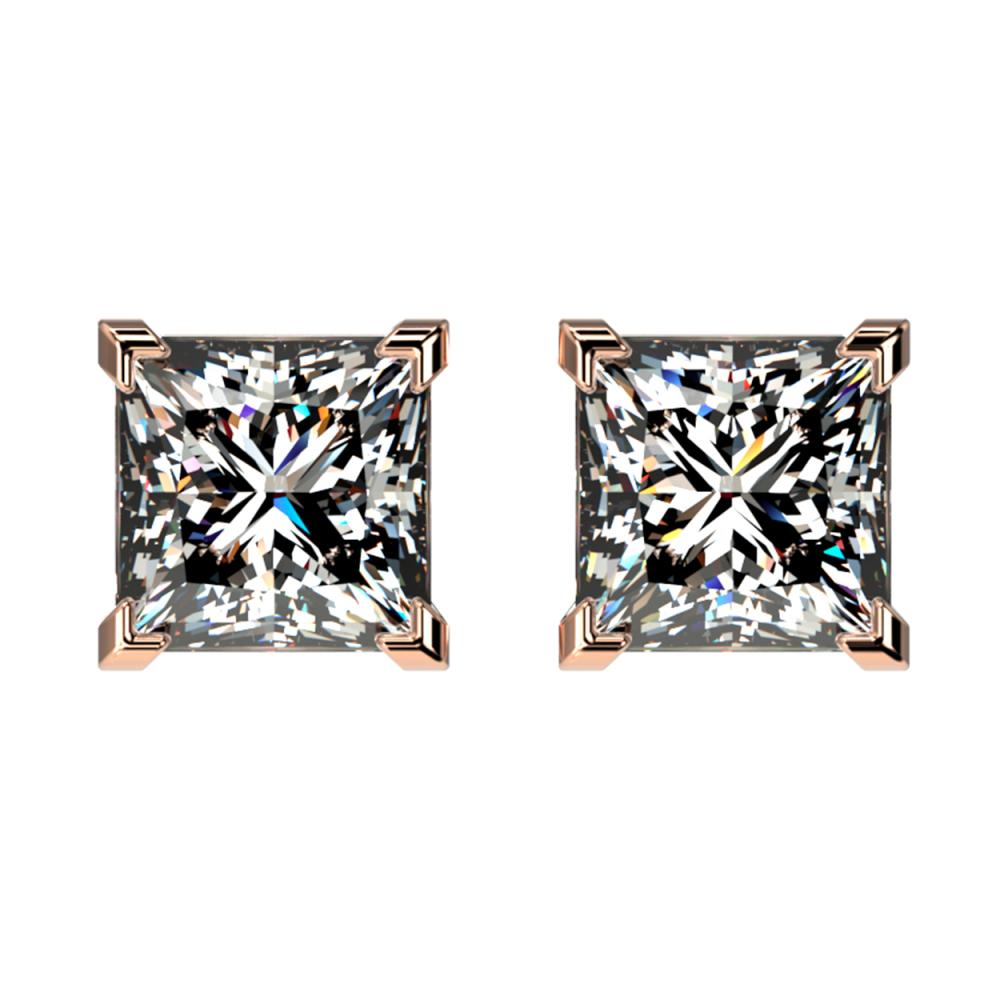 2 ctw VS/SI Princess Diamond Stud Earrings 10K Rose Gold - REF-585H2M - SKU:33095