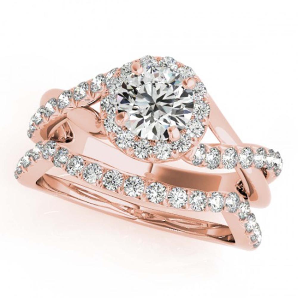 1 ctw VS/SI Diamond 2pc Wedding Set Halo 14K Rose Gold - REF-92R7K - SKU:31059