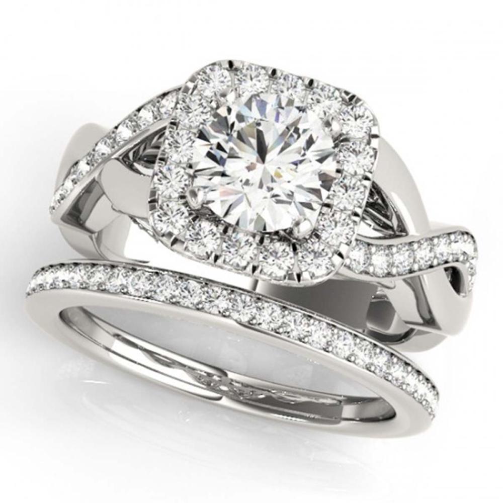1.75 ctw VS/SI Diamond 2pc Wedding Set Halo 14K White Gold - REF-194M7F - SKU:30648