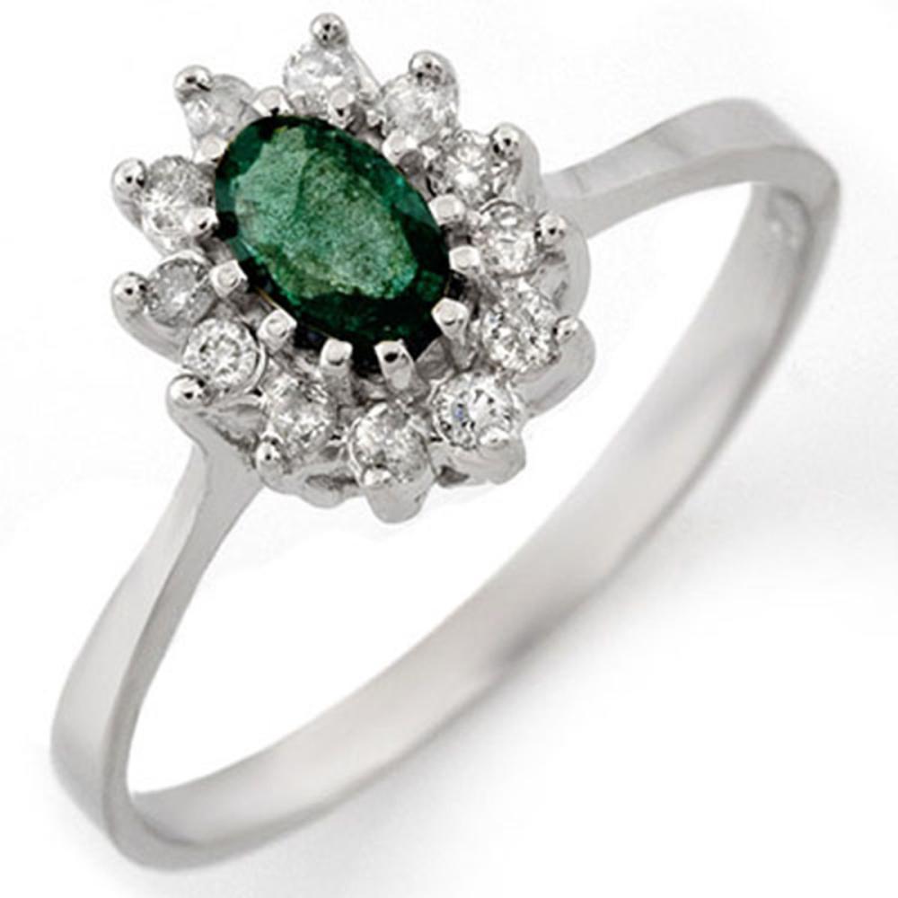 0.60 ctw Emerald & Diamond Ring 18K White Gold - REF-38N2A - SKU:11122