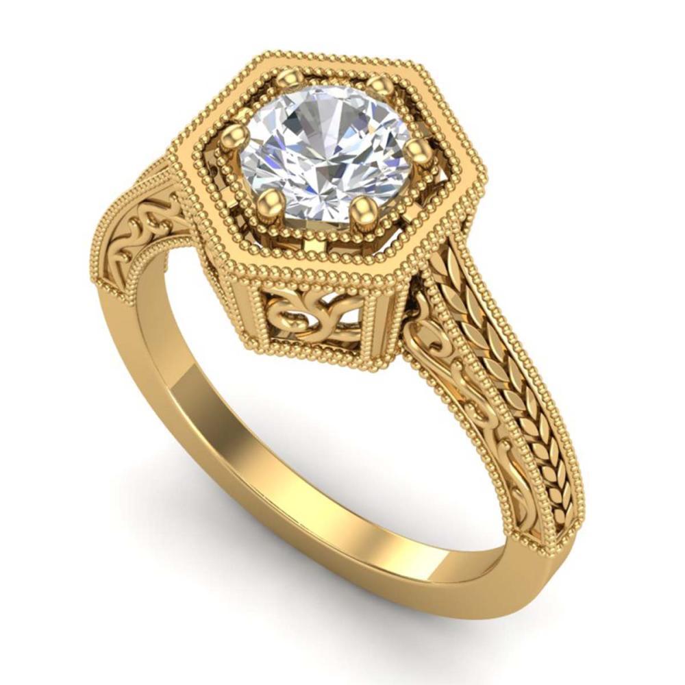 0.77 ctw VS/SI Diamond Art Deco Ring 18K Yellow Gold - REF-218K2W - SKU:36898
