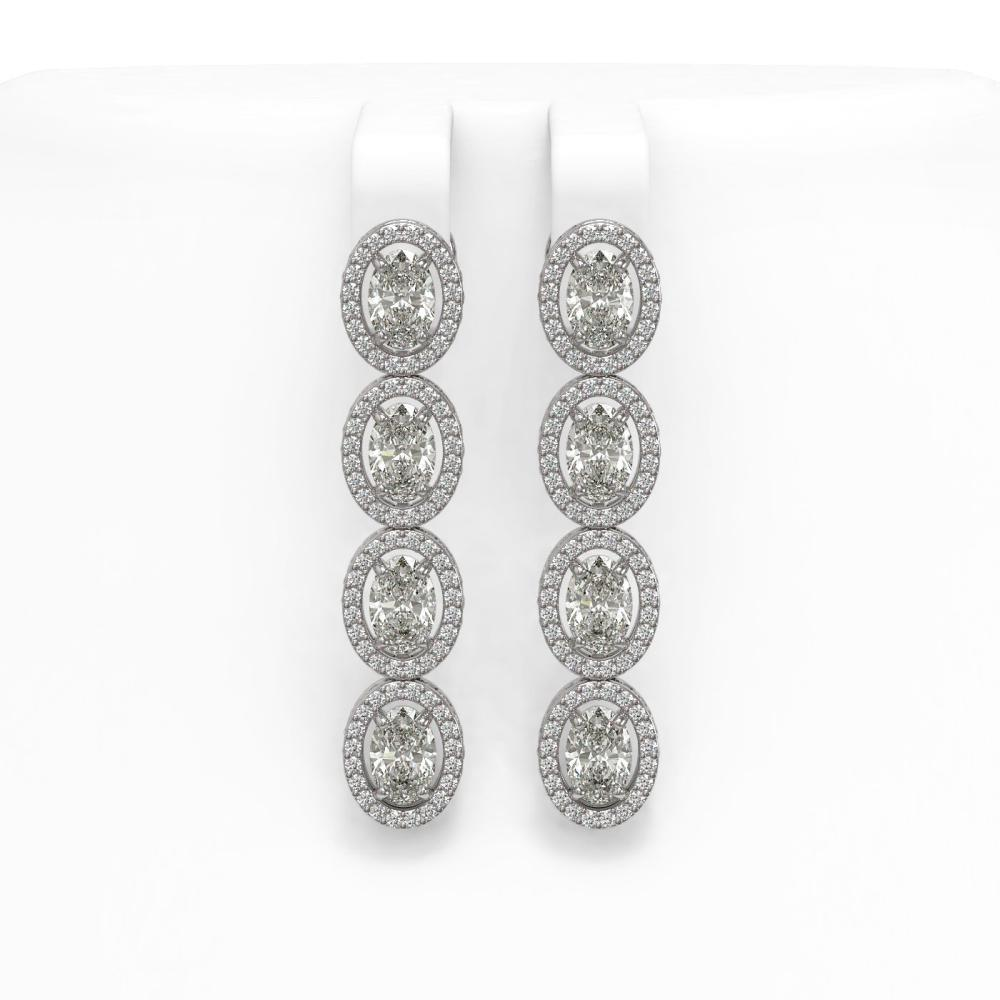 6.08 ctw Oval Diamond Earrings 18K White Gold - REF-849H3M - SKU:42710