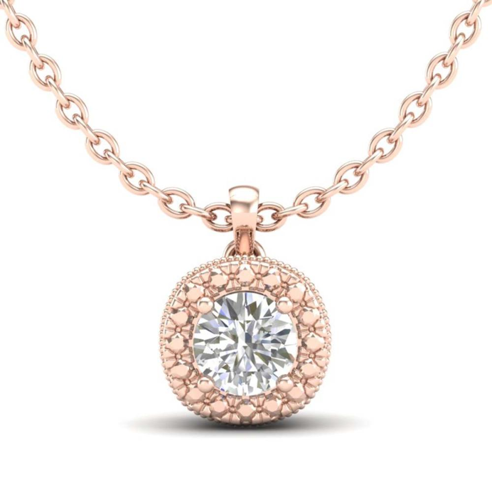 1.10 ctw VS/SI Diamond Solitaire Art Deco Stud Necklace 18K Rose Gold - REF-218X2R - SKU:37122