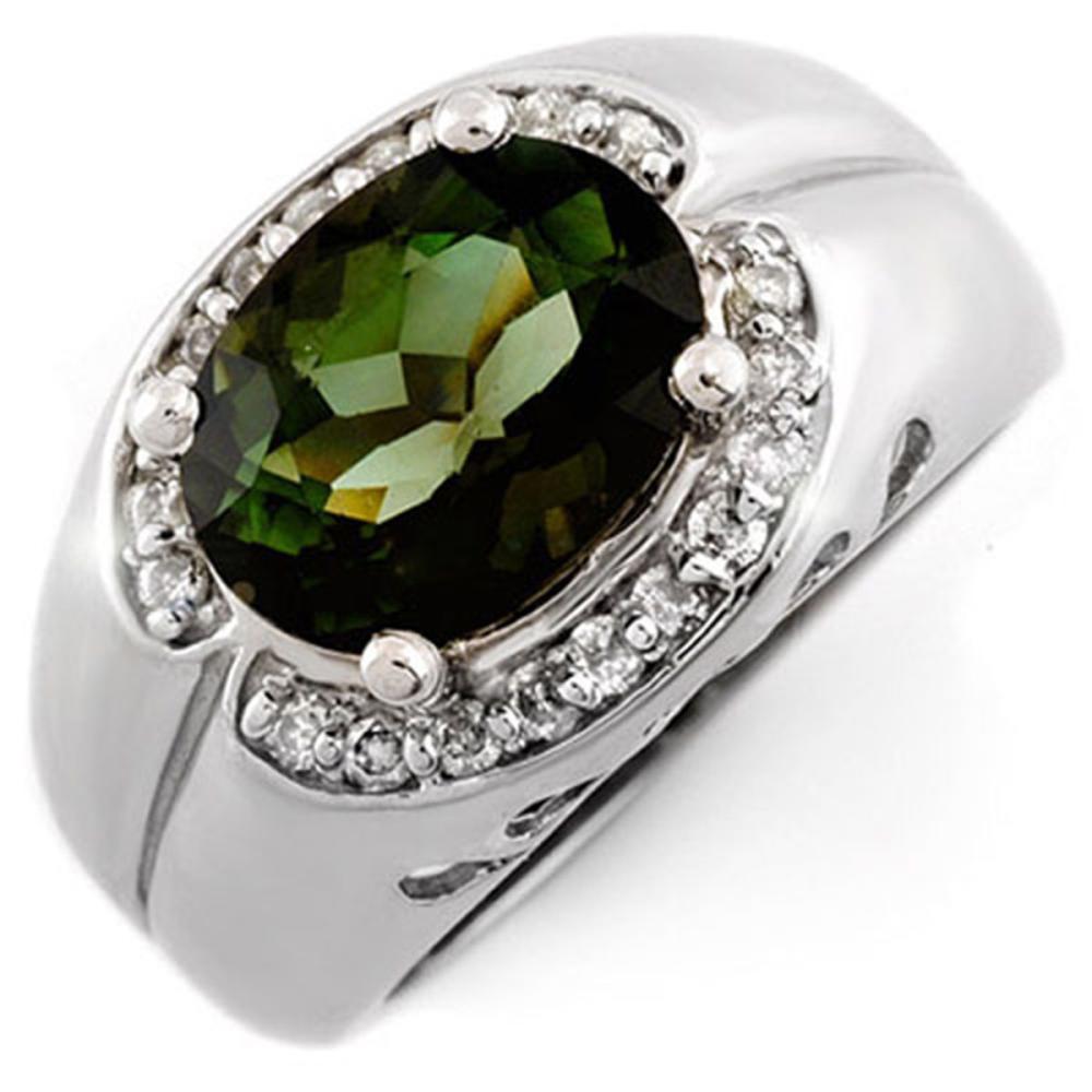 3.58 ctw Green Tourmaline & Diamond Ring 10K White Gold - REF-86M4F - SKU:10074