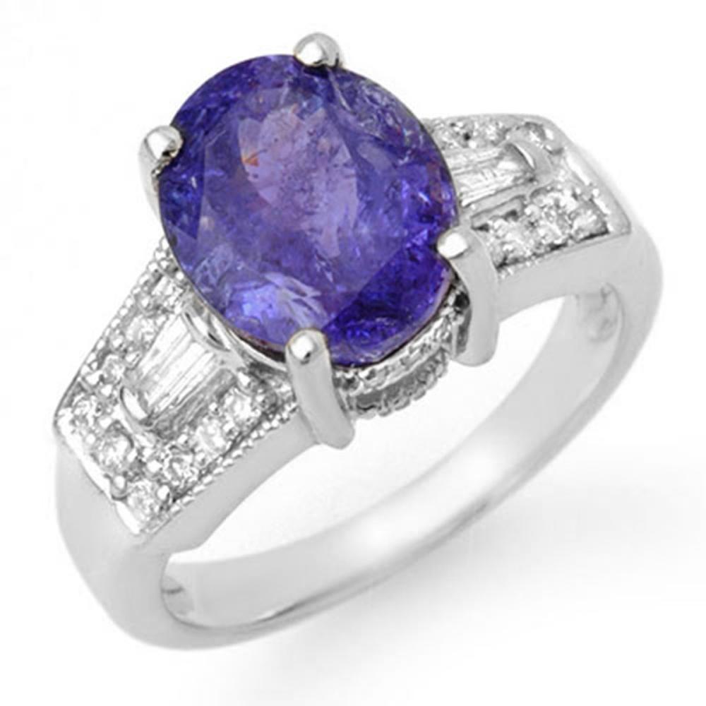 5.55 ctw Tanzanite & Diamond Ring 14K White Gold - REF-158N9A - SKU:11694