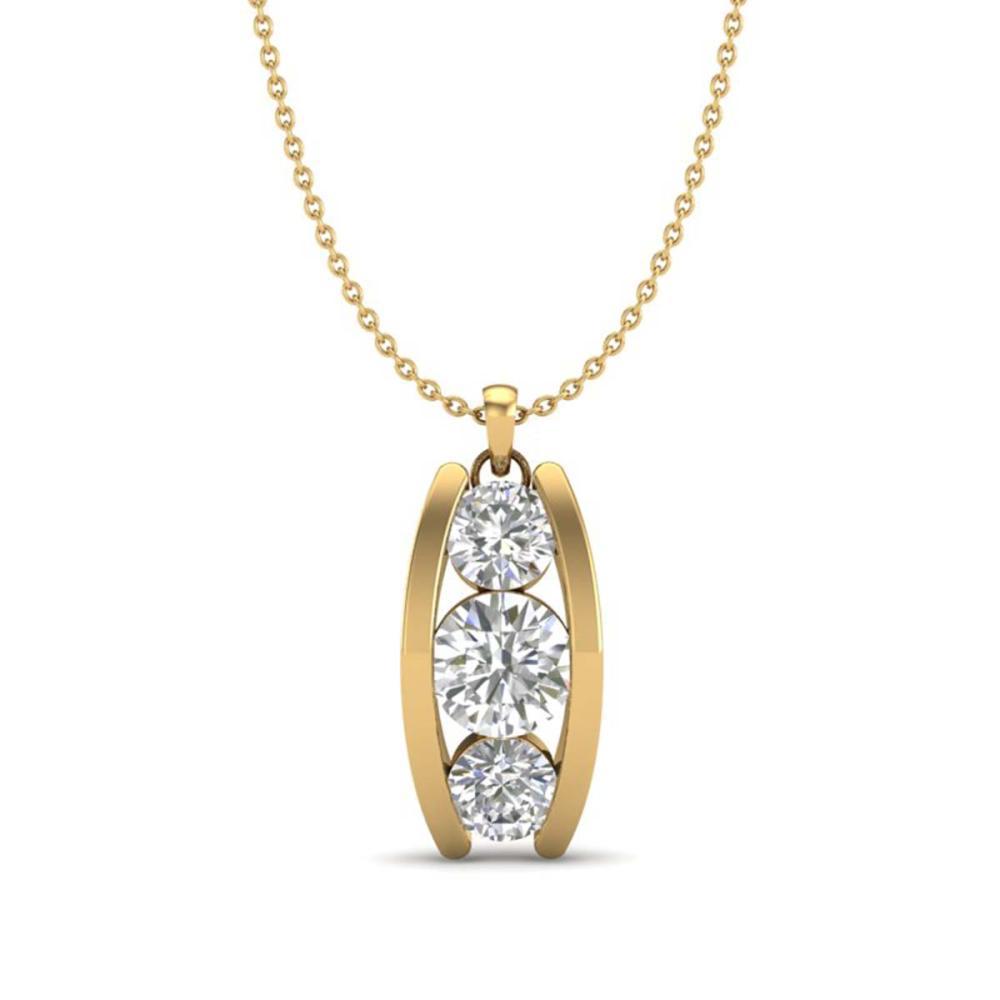 1.07 ctw VS/SI Diamond Art Deco Stud Necklace 18K Yellow Gold - REF-158H2M - SKU:37015