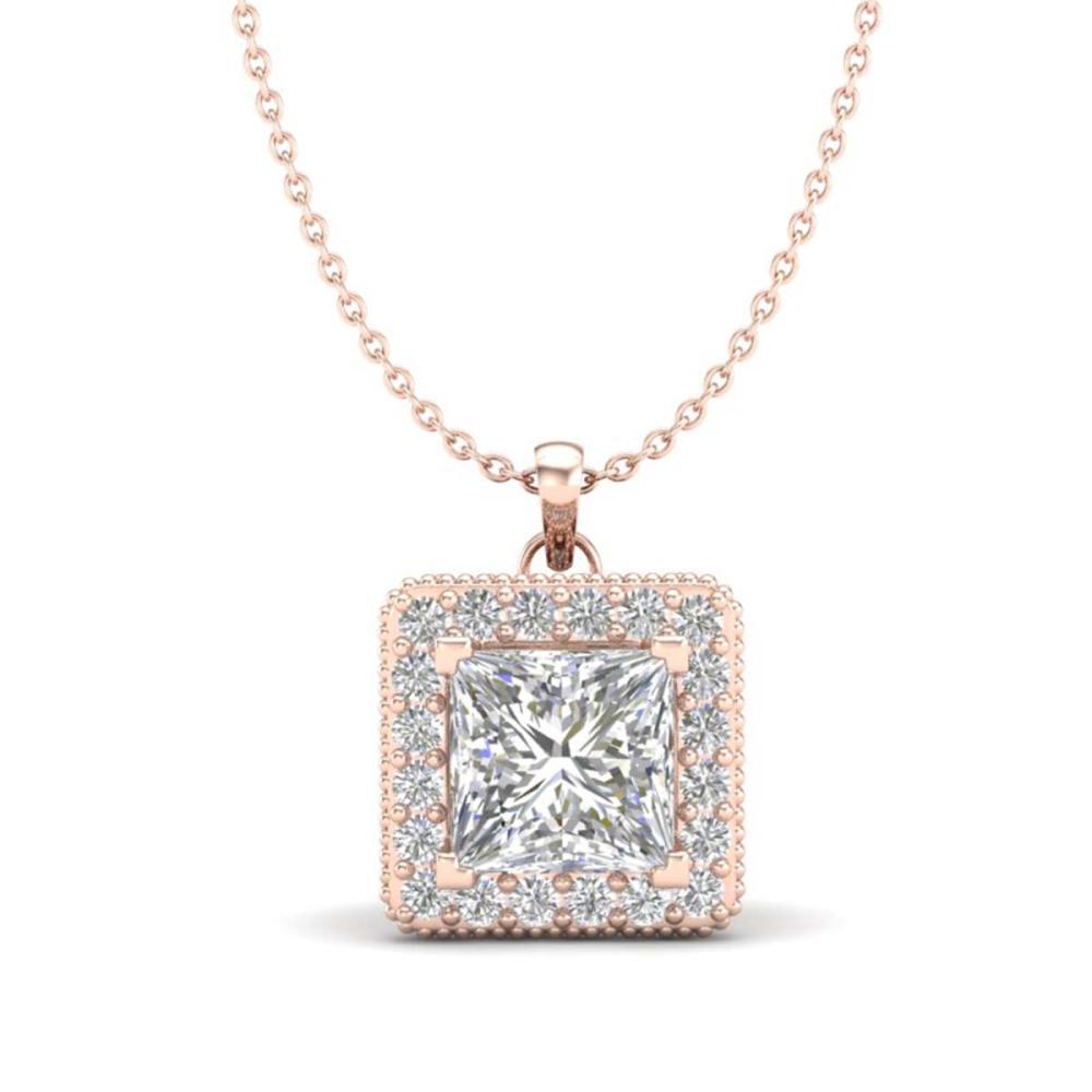 1.93 ctw Princess VS/SI Diamond Necklace 18K Rose Gold - REF-436A4V - SKU:37173