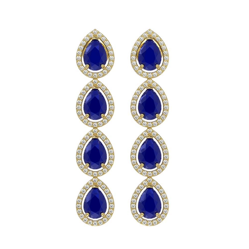 10.2 ctw Sapphire & Diamond Halo Earrings 10K Yellow Gold - REF-155W5H - SKU:41146