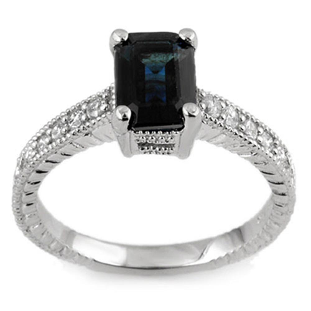 2.65 ctw Blue Sapphire & Diamond Ring 14K White Gold - REF-49A3V - SKU:11446