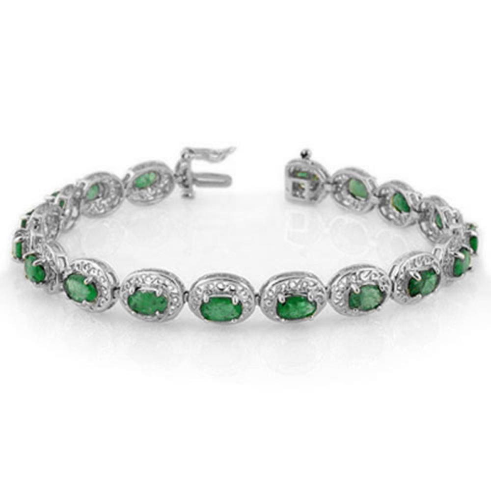 10.0 ctw Emerald Bracelet 18K White Gold - REF-161H8M - SKU:11539