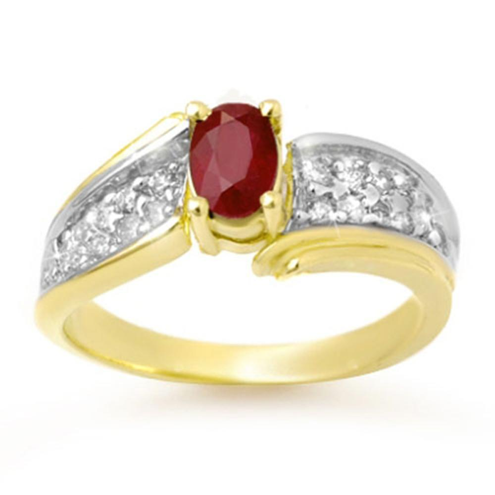 1.43 ctw Ruby & Diamond Ring 10K Yellow Gold - REF-46M4F - SKU:13342