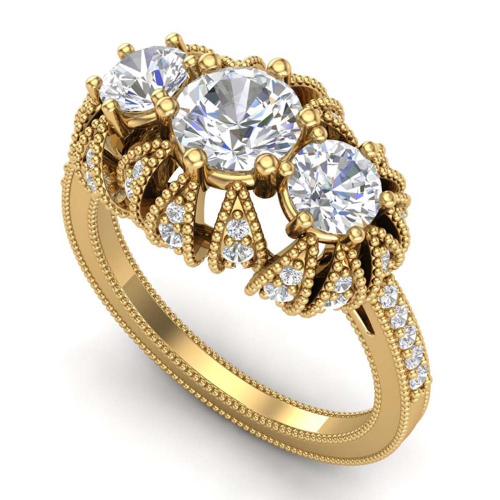 2.26 ctw VS/SI Diamond Solitaire Art Deco 3 Stone Ring 18K Yellow Gold - REF-345H5M - SKU:37003