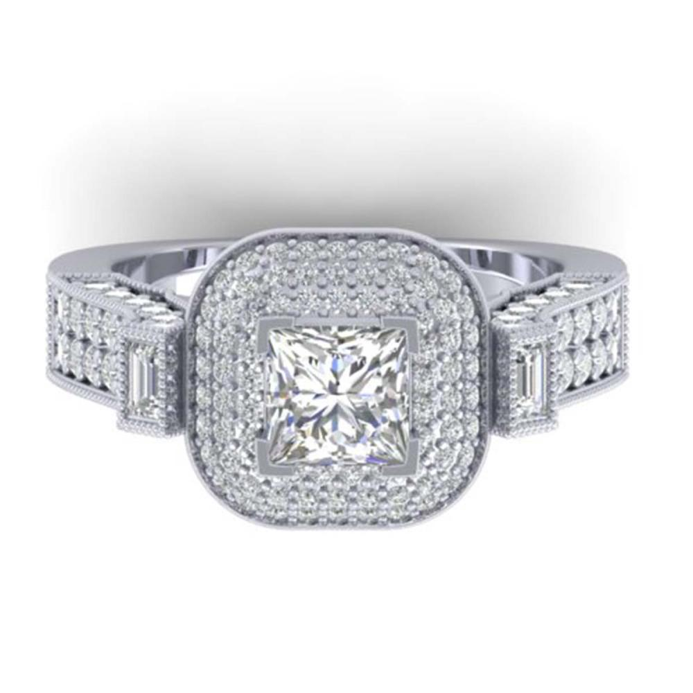 2.85 ctw Princess VS/SI Diamond Art Deco Ring 14K White Gold - REF-486Y2X - SKU:30444