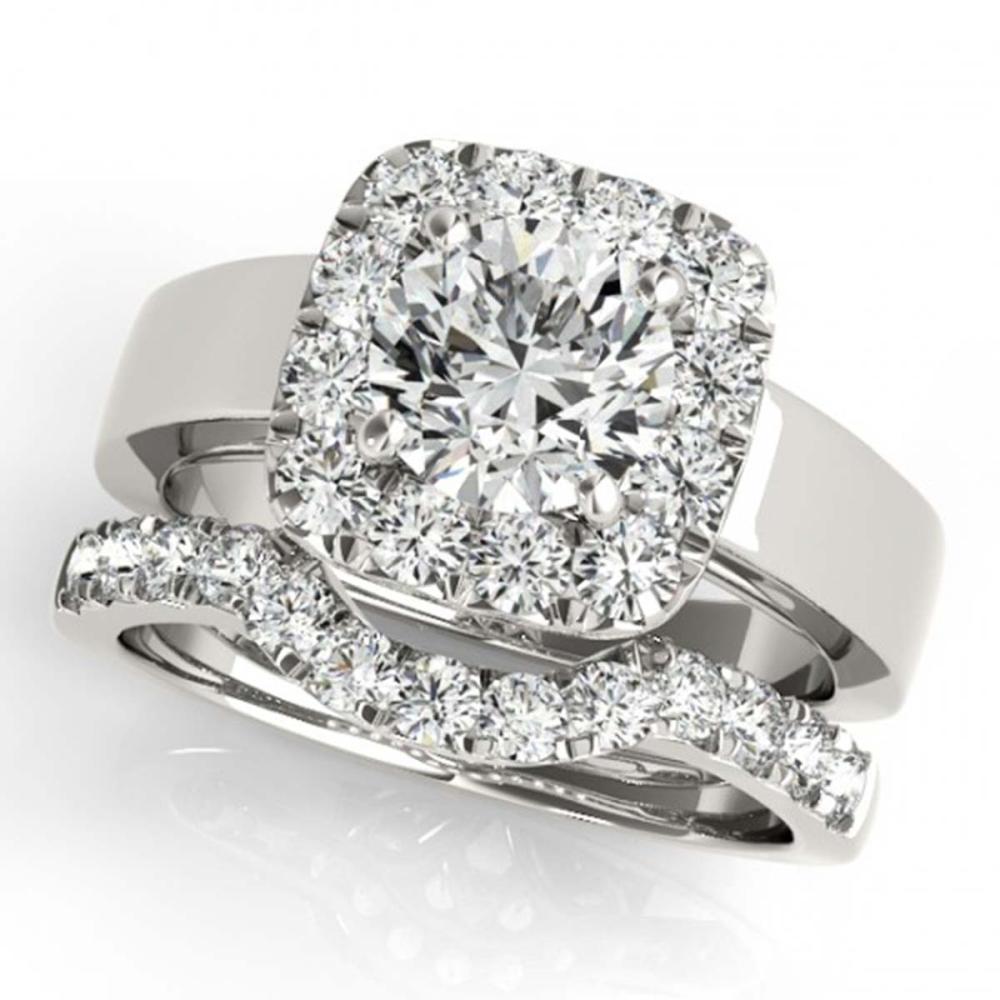 1.80 ctw VS/SI Diamond 2pc Wedding Set Halo 14K White Gold - REF-199H2M - SKU:31226
