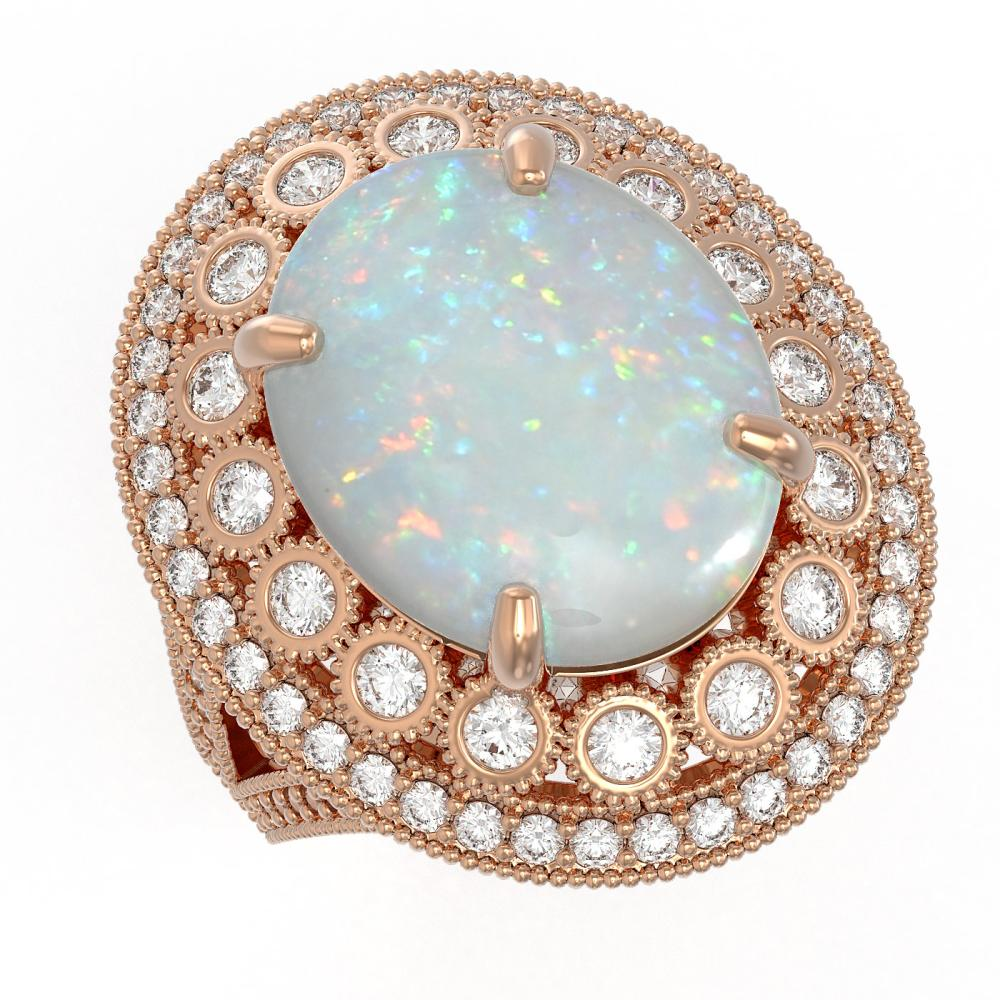 9.48 ctw Opal & Diamond Ring 14K Rose Gold - REF-293V3Y - SKU:43857